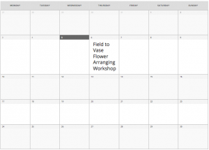 Flower Truck Workshop Calendar